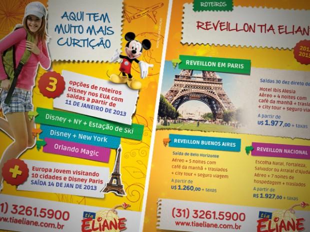 Criação de Anúncios para Mídia Impressa paraTia Eliane Turismo